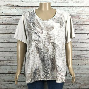 Catherines Tan Feather Print Scoop Neck T-shirt